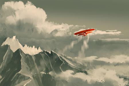 rode dubbeldekker vliegen boven de bergen, illustratie, digitaal schilderen