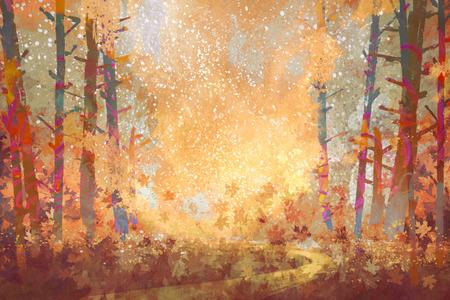 textures: Bahn im Herbst Wald, Landschaftsmalerei, Illustration