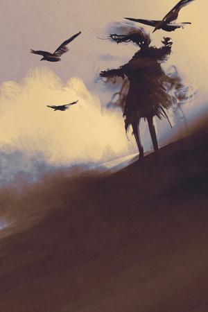 fantasma con corvi volare nel deserto, illustrazione, pittura digitale