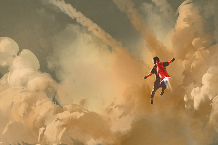 boy flying in the cloudy sky with jet pack rocket,illustration painting