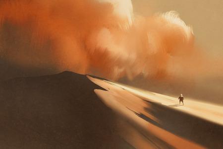 砂嵐の砂漠とハイキングの男、イラスト、デジタル絵画