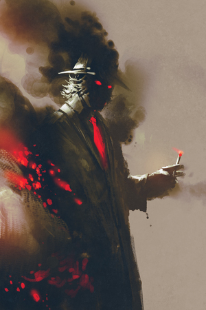 concealed: Mysterious man with hat holding a cigarette,illustration,digital painting