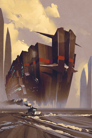vessel: futuristic ocean liner,sci-fi concept,illustration digital painting