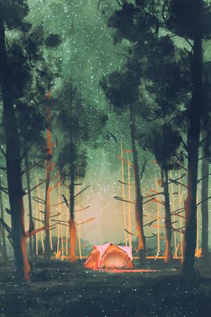 kamperen in het bos 's nachts met sterren en vuurvliegjes, illustratie, digitaal schilderen