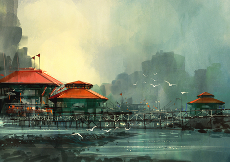 landscape of beautiful harbor,fishing village,digital painting