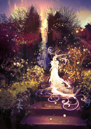 landscapes: fantasy landscape painting of beautiful goddess up the stairs