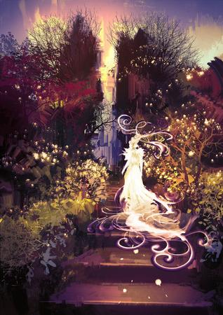 fantasia: pintura da fantasia paisagem da bela deusa subir as escadas Banco de Imagens