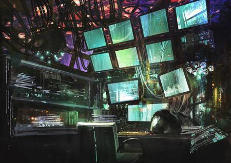 sci-fi creatieve werkplek, digitaal schilderen, illustratie