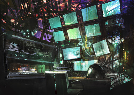 interior decoration: sci-fi creative workspace,digital painting,illustration