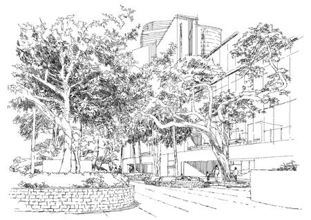 나무 아래 공원에서 도시 풍경, 벤치의 스케치
