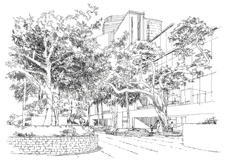 schets van stadslandschap, bankje in het park onder de bomen