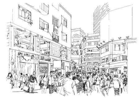croquis de foule de gens dans la rue commerçante