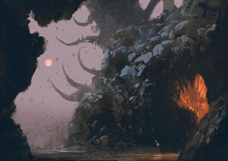 謎の洞窟、デジタル ベクターファンタジー風景絵画
