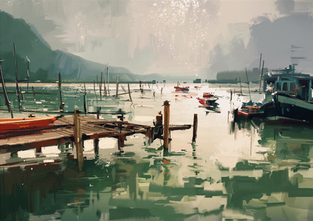jetty: digital painting showing jetty and fishing boats at harbor