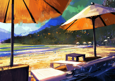 loungers: colorful painting of sun umbrellas and loungers on beach Stock Photo