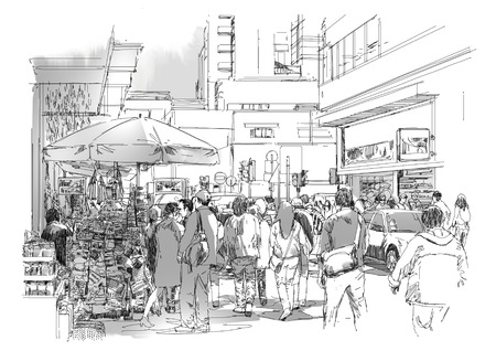 busy street: sketch of crowd of people in commercial and busy street