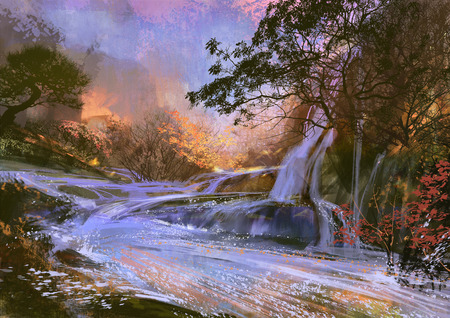 landscape digital painting of beautiful purple waterfall