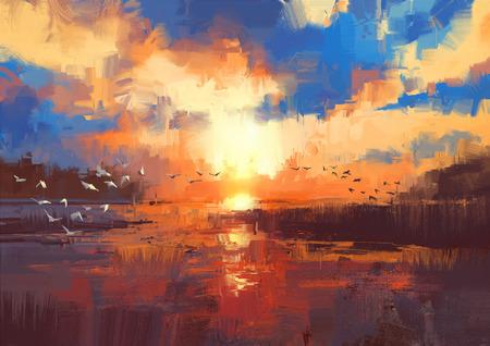 湖、イラストの美しい絵画を示す夕日