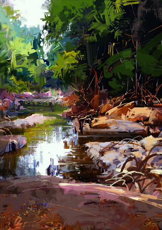 amongst: beautiful river amongst large stones in summer forest,digital painting