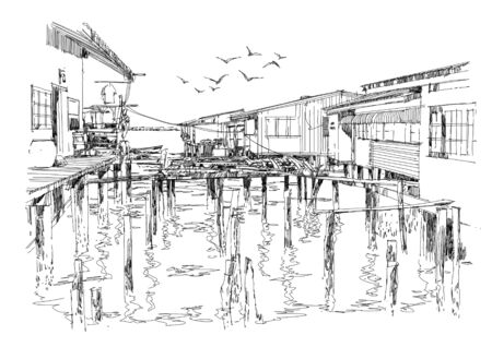 sketch: sketch of fishing village in summer, illustration Stock Photo