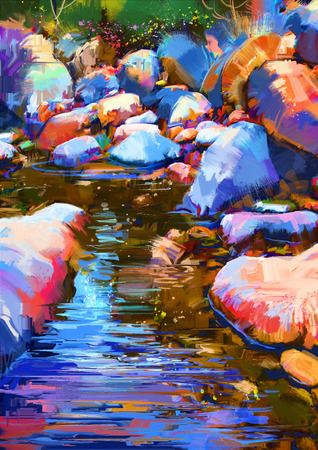 river rock: beautiful river amongst colorful stones,digital painting