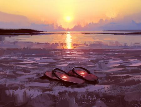 flip flops met mooie harten op het strand bij zonsondergang, digitaal schilderen