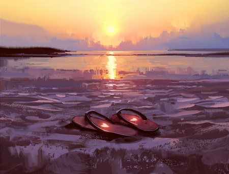 flip flops with lovely hearts on the beach at sunset ,digital painting