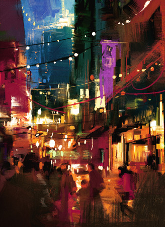 street night: colorful painting of shopping street at night Stock Photo