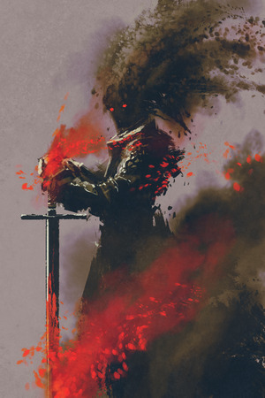warrior pose: dark warrior in the armor with the sword,illustration,digital painting Stock Photo