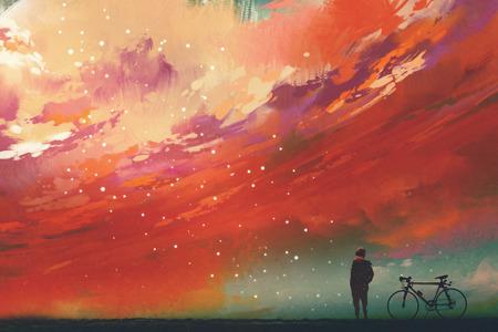 하늘, 그림, 디지털 페인팅에서 붉은 구름에 대하여 서있는 자전거를 가진 남자