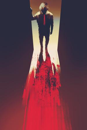 człowiek stojący przed drzwiami, morderstwo pojęcie, ilustracja malarstwo
