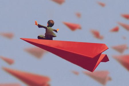 Mężczyzna siedzi na czerwony papierowy samolot na niebie, ilustracja malarstwo