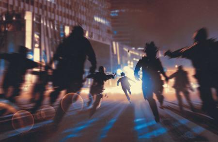 Człowiek ucieka z zombie w nocy miasto, ilustracja, malarstwo cyfrowe