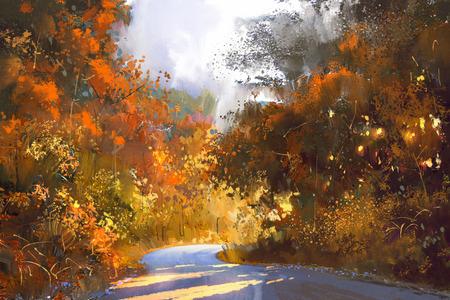 カラフルな森、秋の風景画、イラスト経路 写真素材