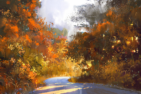 pathway through the colorful forest,autumn landscape painting,illustration 版權商用圖片