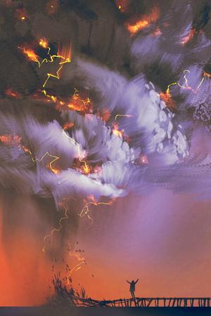 espectaculares nubes y tormenta eléctrica con un hombre que levanta los brazos de pie en el muelle, pintura ilustración