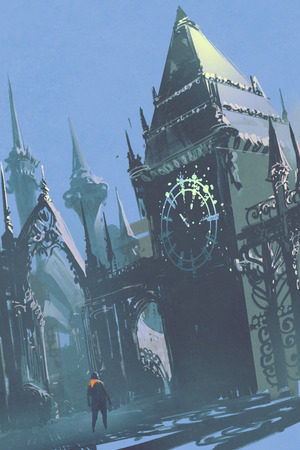 clock tower: man looking at the clock tower in sci-fi city,illustration painting