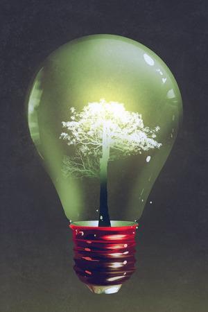 gloeilamp met de lichte boom groeit binnen op donkere achtergrond, illustratie, digitaal schilderen Stockfoto