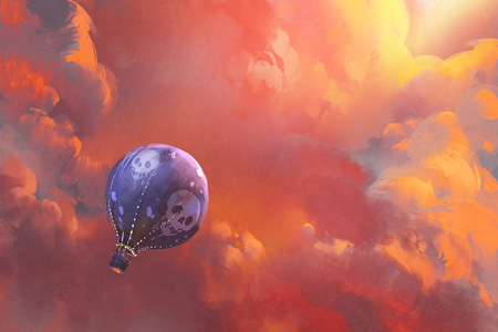 balloon floating in the sky with red clouds,illustration painting