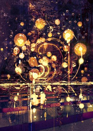 pintura abstracta: bombilla, el concepto de la pintura abstracta Foto de archivo