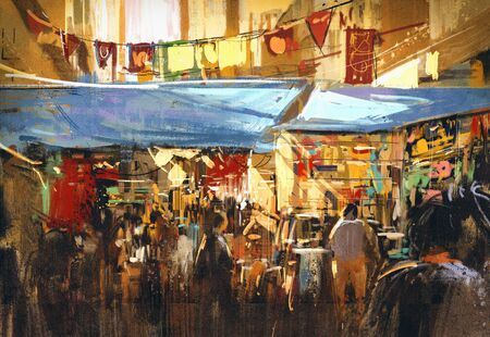 digital painting of colorful street market