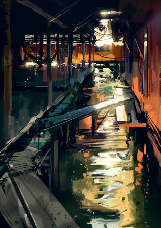 fishing village: wooden bridge across canals in fishing village,digital painting