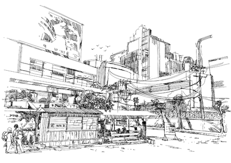 freehand: city street digital sketch.Illustration Stock Photo