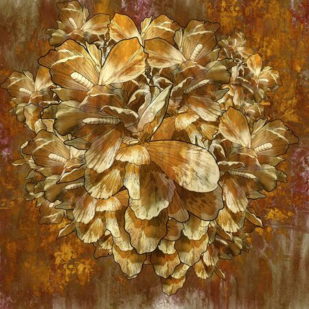 abstract golden flower with grunge texture in oil painting style,illustration