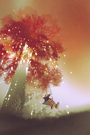 people looking up: robot rocking the swing under the fantasy autumn tree,illustration painting