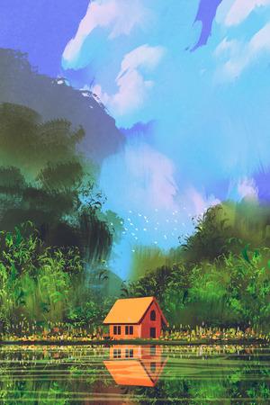 casita de dulces: pequeña casa de color naranja en el bosque bajo el cielo azul, pintura ilustración