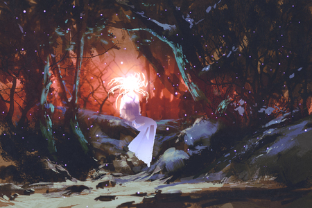 enchanted: spirit of the enchanted forest,woman in the dark woods,illustration painting