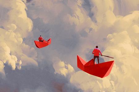 concepto: hombres en los barcos de papel Origami rojo flotando en el cielo nublado, pintura ilustración