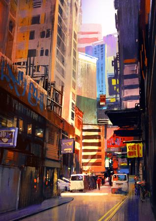 strada urbana con edifici, città vicolo, pittura colorata, illustrazione Archivio Fotografico