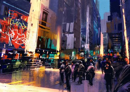 도시의 거리에서 사람들의 군중, 다채로운 그림, 그림 스톡 콘텐츠